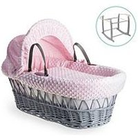 Product photograph showing Clair De Lune Dimple Grey Wicker Basket With Grey Deluxe Stand - Pink