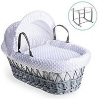 Product photograph showing Clair De Lune Dimple Grey Wicker Basket With Grey Deluxe Stand - White
