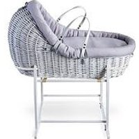 Product photograph showing Clair De Lune Cotton Dream Grey -white Willow Bassinet With White Deluxe Stand