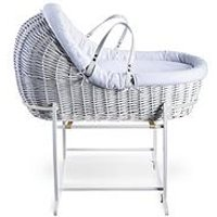 Product photograph showing Clair De Lune Cotton Dream White -white Willow Bassinet With White Deluxe Stand