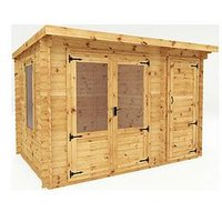 Product photograph showing Mercia 3 5m X 2 4m Pent Log Cabin With Side Shed - 19mm