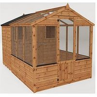 Product photograph showing Mercia 10x6 Shiplap Dip Treated Combi Shed Greenhouse