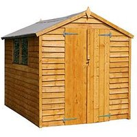 Product photograph showing Mercia 8 X 6ft Great Value Overlap Apex Shed With Windows And Double Doors