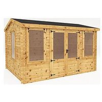 Product photograph showing Mercia 4m X 3m Reverse Apex Log Cabin - 19mm