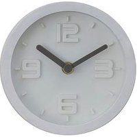 Product photograph showing Premier Housewares Elko Embossed Effect White Wall Clock