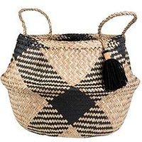 Product photograph showing Sass Belle Black Tribal Tassel Basket