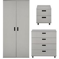 Product photograph showing Carter Childrens 3 Piece Package - 2 Door Wardrobe 4 Drawer Chest And 2 Drawer Bedside Chest