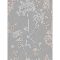 Product photograph showing Superfresco Cow Parsley Grey Rose Gold Wallpaper