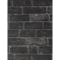 Product photograph showing Fresco House Brick Charcoal Wallpaper