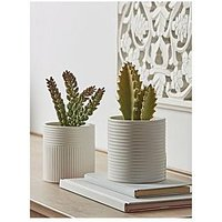 Product photograph showing Cox Cox Set Of 2 White Ribbed Planters