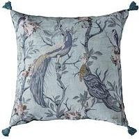 Product photograph showing Gallery Peacock Tassel Cushion - Teal