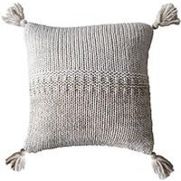 Product photograph showing Gallery Two Tone Knitted Cushion - Oatmeal Cream