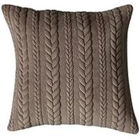 Product photograph showing Gallery Chenille Embroidered Cushion - Taupe