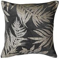Product photograph showing Gallery Velvet Metallic Leaves Cushion - Grey