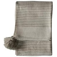 Product photograph showing Gallery Retreat Striped Tassel Throw - Cream