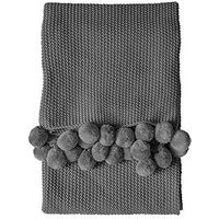 Product photograph showing Gallery Moss Stitched Pompom Throw - Grey