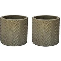 Product photograph showing Ivyline Pack Of 2 Wave Taupe Cement Planters
