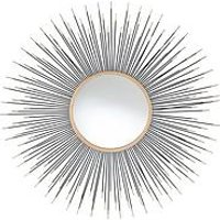 Product photograph showing Pacific Lifestyle Black Gold Metal Starburst Round Wall Mirror