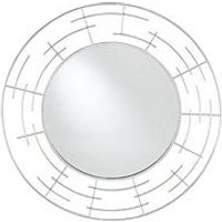 Product photograph showing Pacific Lifestyle Silver Metal Frame Round Wall Mirror