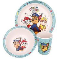 Product photograph showing Paw Patrol Bamboo 3 Piece Dinner Set