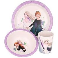 Product photograph showing Disney Frozen Elsa 3 Piece Bamboo Dinner Set