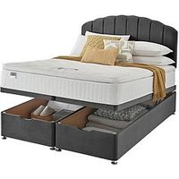 Product photograph showing Silentnight Ava Eco 1000 Pillowtop Velvet Ottoman Storage Bed Headboard Included