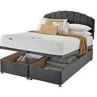 Product photograph showing Silentnight Ava Memory 1000 Pocket Velvet Ottoman Storage Bed Headboard Included