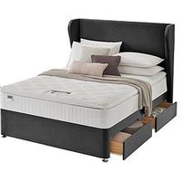 Product photograph showing Silentnight Shea Velvet 1000 Pillowtop Superking 2 Drw Divan - With Headboard