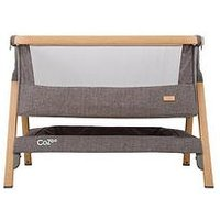 Product photograph showing Tutti Bambini Cozee Bedside Crib - Oak And Charcoal