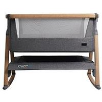 Product photograph showing Tutti Bambini Cozee Air Bedside Crib - Oak And Charcoal