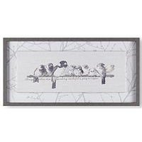Product photograph showing Art For The Home Innocence Birds Framed Canvas With Stitching Detail