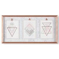 Product photograph showing Art For The Home Marble Geo Trio Framed Print