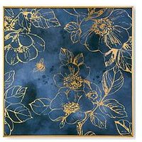 Product photograph showing Art For The Home Golden Blooms Framed Canvas With Sequins