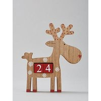 Product photograph showing Wooden Reindeer Christmas Countdown Calendar