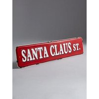 Product photograph showing Santa Claus St Metal Sign Christmas Decoration
