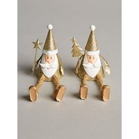 Product photograph showing Set Of 2 Metal Sitting Santas With Dangly Legs Christmas Decorations