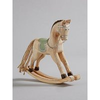 Product photograph showing Wooden Rocking Horse Christmas Decoration