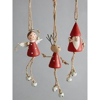 Product photograph showing Deer Fairy Amp Santa Wooden Hanging Christmas Tree Decorations