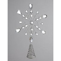 Product photograph showing Silver Metal Snowflake Christmas Tree Topper