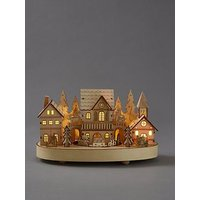 Product photograph showing Wooden Light Up Village With Moving Train Christmas Decoration