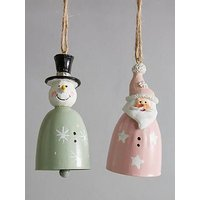 Product photograph showing Metal Santa And Snowman Hanging Christmas Tree Decorations