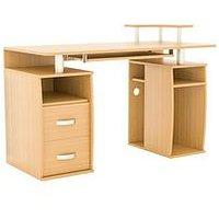 Product photograph showing Vida Designs Otley 2 Drawer Computer Desk - Pine