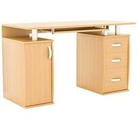 Product photograph showing Vida Designs Otley 3 Drawer Computer Desk - Pine