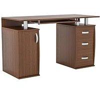 Product photograph showing Vida Designs Otley 3 Drawer Computer Desk - Walnut