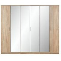 Product photograph showing Milan 6 Door Mirrored Wardrobe