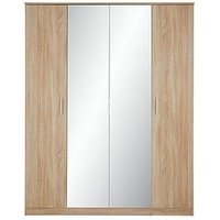 Product photograph showing Milan 4 Door 3 Drawer Mirrored Wardrobe