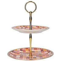 Product photograph showing Maxwell Williams Kasbah Porcelain Two-tier Cake Stand In Rose