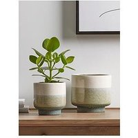 Product photograph showing Cox Cox Cox Cox Two Dipped Planters - Natural Green