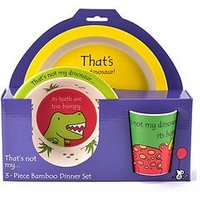 Product photograph showing That S Not My Dinosaur 3 Piece Bamboo Dinner Set