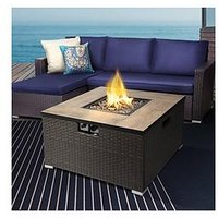 Product photograph showing Peaktop Peaktop Firepit Outdoor Gas Fire Pit Steel With Lava Rock Cover